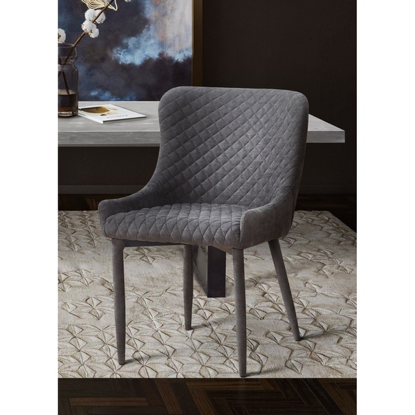 79960f47a7 Shop Silver Orchid Laughton Grey Velvet/Steel Dining Chair - Free ...