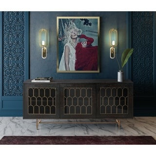 TOV Gatsby Collection Black/Brass Acacia Wood/Glass/Steel Buffet