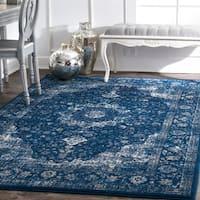Maison Rouge Khalil Traditional Persian Vintage Dark Blue Rug (10' x 14')