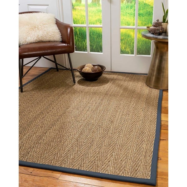 Natural Area Rugs 100%, Natural Fiber Handmade Beach, Natural Seagrass Rug, Marine Border - 4' x 6'