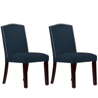 Skyline Furniture Nail Button Arched Dining Chair Set in Linen