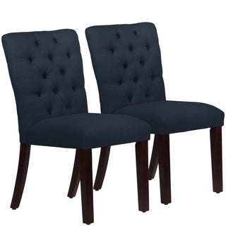 Skyline Furniture Tufted Dining Chair Set in Linen