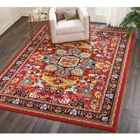 Nourison Oakdale Traditional Red Area Rug - 7'10 x 10'