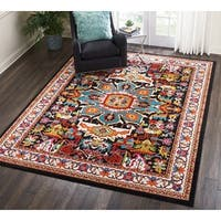 Nourison Oakdale Traditional Black Area Rug (7'10 X 10' ) - 7'10 x 10'