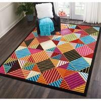 Nourison Oakdale Geometric Black/Multicolor Area Rug - 7'10 x 10'