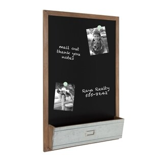Kate and Laurel Industrious Magnetic Chalkboard with Pocket
