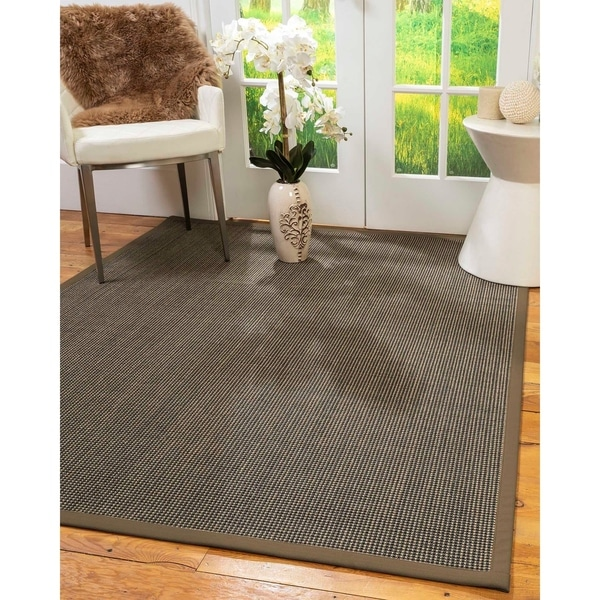 Natural Area Rugs 100%, Natural Fiber Handmade Chateau, Black/Brown Sisal Rug, Fossil Border - 4' x 6'