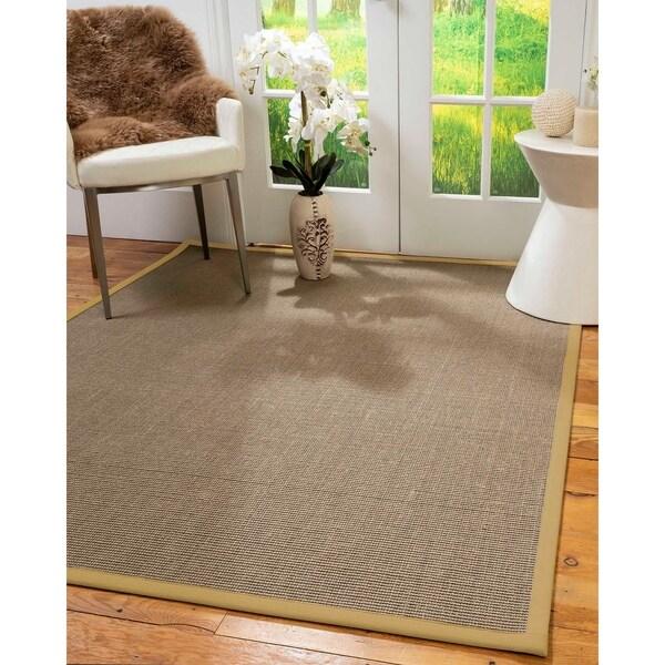 Natural Area Rugs 100%, Natural Fiber Handmade Dalton, Grey Sisal Rug, Sage Border - 4' x 6'