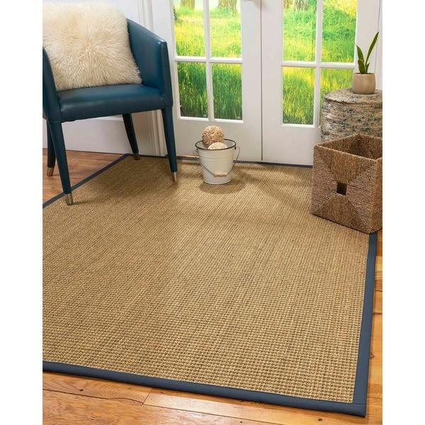 Natural Area Rugs 100%, Natural Fiber Handmade Hamptons, Natural Seagrass Rug, Marine Border - 4' x 6'