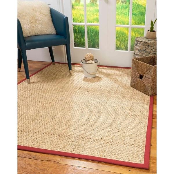 Natural Area Rugs 100%, Natural Fiber Handmade Basket Weave Miami, Natural Seagrass Rug, Red Border - 4' x 6'