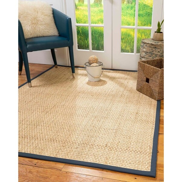 Natural Area Rugs 100%, Natural Fiber Handmade Basket Weave Miami, Natural Seagrass Rug, Marine Border - 4' x 6'