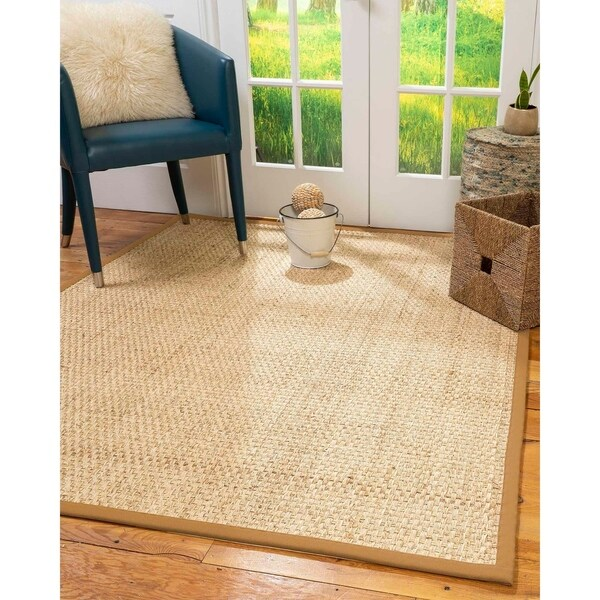 Natural Area Rugs 100%, Natural Fiber Handmade Basket Weave Miami, Natural Seagrass Rug, Khaki Border - 4' x 6'