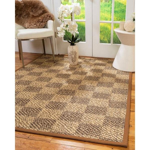 Natural Area Rugs 100%, Natural Fiber Handmade Parson, Brown/Multi Sisal Rug, Sienna Border - 4' x 6'