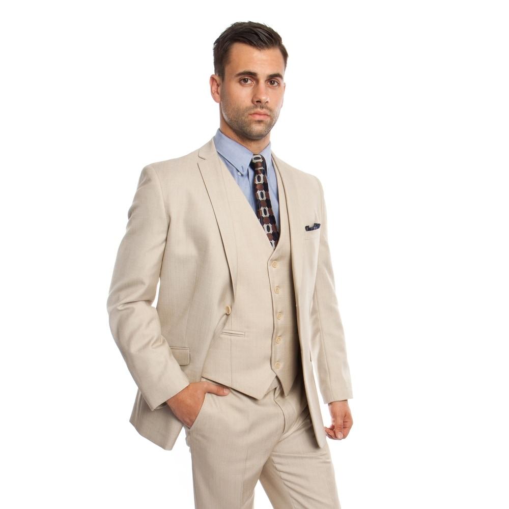 TAZIO Mens Suit 3 Pc Slim Fit Striped Suit