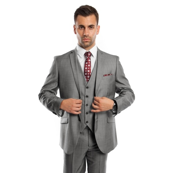 Men's Suit 3 Pieces Slim Fit Window Pane Notch Lapel Suit