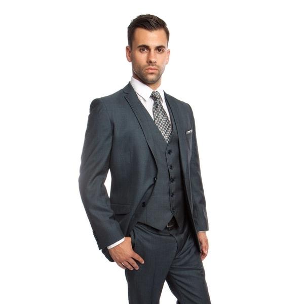 Mens Suit 3 Pieces Slim Fit Window Pane Notch Lapel Suit