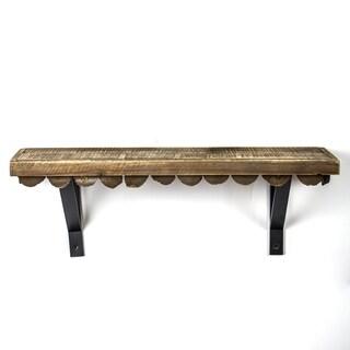 American Art Decor Scalloped Wood Rustic Hanging Wall Shelf - Small