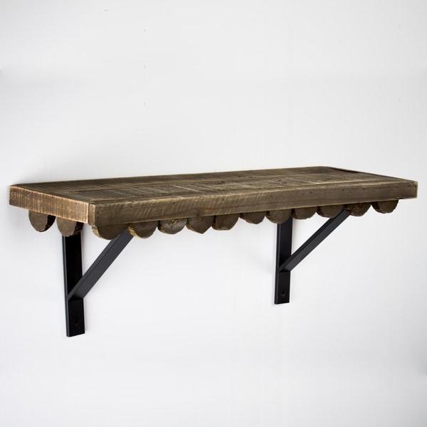 American Art Decor Scalloped Wood Rustic Hanging Wall Shelf - Large