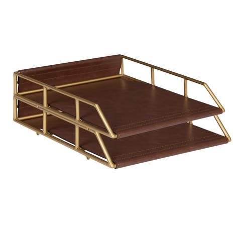 Kate and Laurel Alton Stacked Metal and Faux Leather Letter Trays