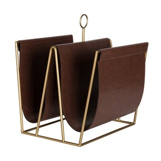 Kate and Laurel Alton Metal and Faux Leather Magazine File Holder