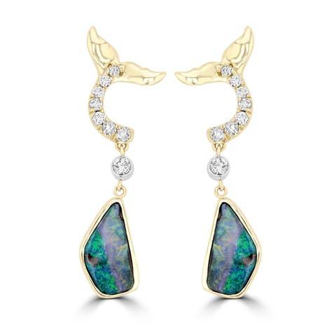 La Vita Vital AUS Boulder Opal 4.08cts TGW & RBC Diamond 0.35cts TDW Earrings - Blue/Green/Pink