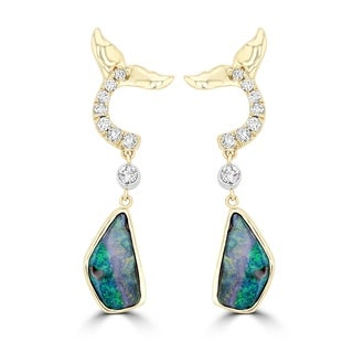 La Vita Vital AUS Boulder Opal 4.08cts TGW & RBC Diamond 0.35cts TDW Earrings - Blue/Green/Pink
