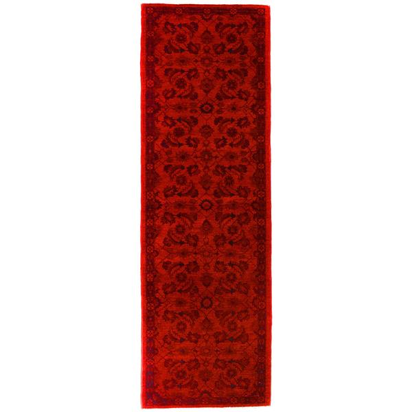 Over Dyed Color Reform Loyd Red/Black Wool Runner (2'4 x 8'2) - 2 ft. 4 in. x 8 ft. 2 in.