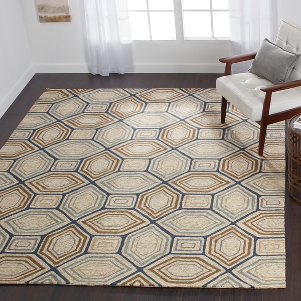Indoor/ Outdoor Hand-hooked Taupe/ Blue Geometric Rug - 9'3 x 13'