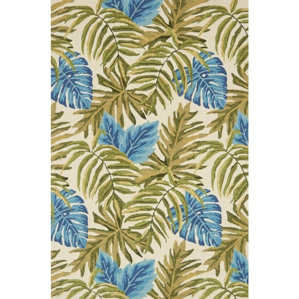 Indoor/ Outdoor Hand-hooked Green/ Blue Tropical Palm Leaf Rug - 9'3 x 13'