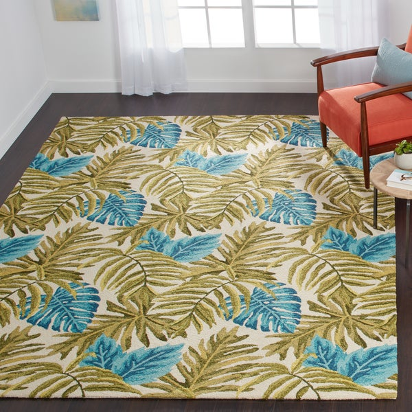 shop indoor outdoor hand hooked green blue tropical palm leaf rug 9 39 3 x 13 39 on sale free. Black Bedroom Furniture Sets. Home Design Ideas