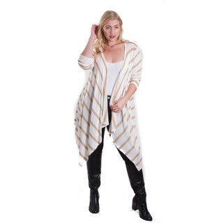 Hot Ginger LA Women's Plus Size Long Sleeve Waterfall Cardigan (More options available)