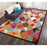Nourison Oakdale Geometric Black/Multicolor Area Rug - multi - 9'2 x 12'