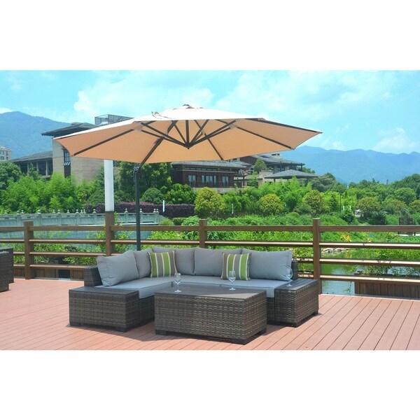 Verona Outdoor Garden 8 Piece Patio Section Sofa Set With 11.5 Foot  Aluminum Cantilever