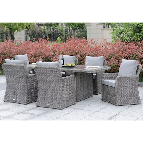 Furniture of America Estello Contemporary Grey Weather Resistant 7-Piece Dining Set