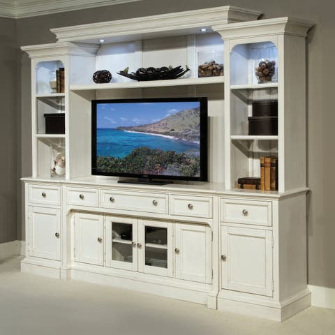 Laurel Garden Cottage Soft White Entertainment Wall