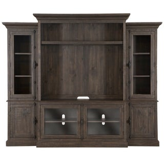 Bellamy Traditional Rustic Peppercorn Entertainment Wall