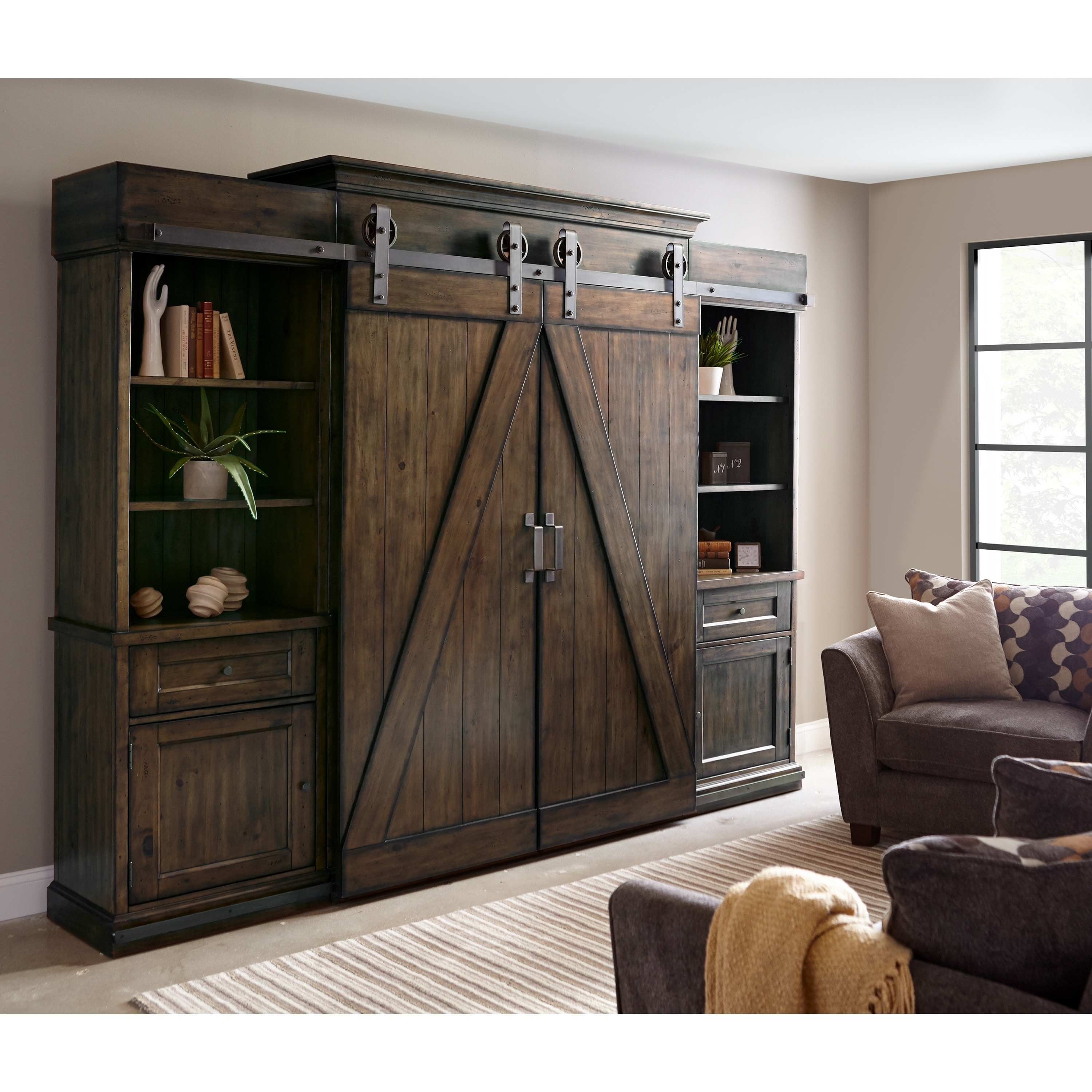 Fraser Farmhouse Rustic Pine Barn Door Entertainment Console Overstock 20108314