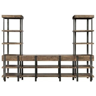 Prescott Industrial Rustic Honey Entertainment Wall