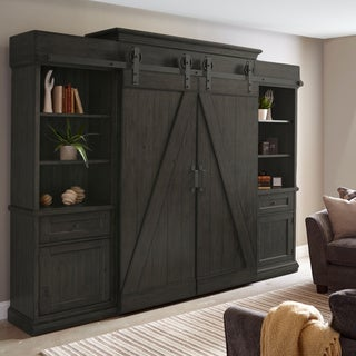 Garrett Farmhouse Weathered Charcoal Barn Door Entertainment Console