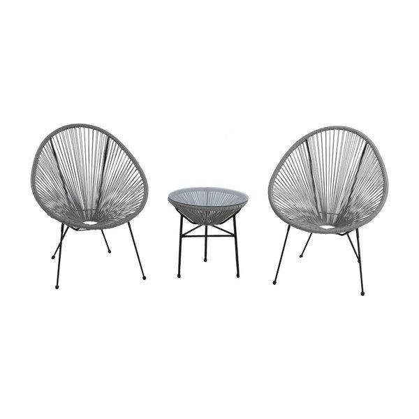 Acapulco All Weather Resort Grade Outdoor Patio Sun Chair 3 Piece Set ( Grey )
