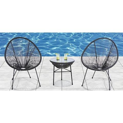 Acapulco All Weather Resort Grade Outdoor Patio Sun Chair 3 Piece Set ( Black)
