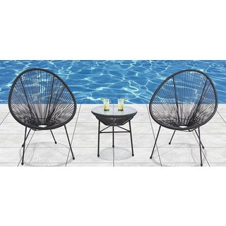 Acapulco All Weather Resort Grade Outdoor Patio Sun Chair 3 Piece Set ( Black)