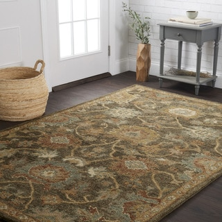 """Hand-hooked Traditional Floral Charcoal/ Gold Wool Rug - 3'6"""" x 5'6"""""""