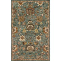 Hand-hooked Traditional Floral Blue/ Rust Wool Rug (5' x 7'6) - 5' x 7'6
