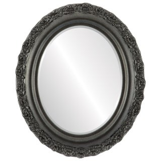 Venice Framed Oval Mirror in Black Silver