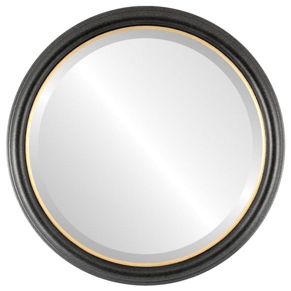 Hamilton Framed Round Mirror In Black Silver With Gold Lip