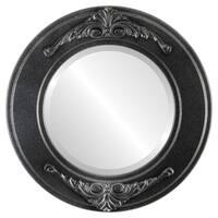 Ramino Framed Round Mirror in Black Silver