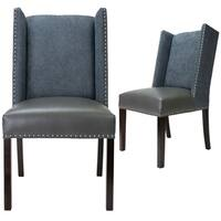 Sole Designs Rexford Collection Upholstered Wingback Nailhead Trim Tappered Legs Dining Chairs, Set Of 2, Grey/Espresso - n/a