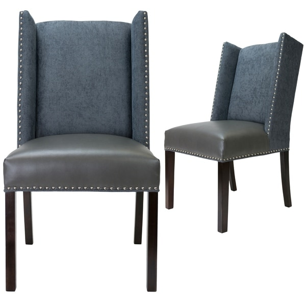Charmant Sole Designs Rexford Collection Upholstered Wingback Nailhead Trim Tappered  Legs Dining Chairs, Set Of 2