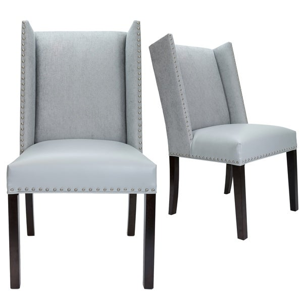 upholstered wingback dining chairs contemporary blue dining sole designs rexford collection upholstered wingback with nailhead trim tappered legs dining chairs set of shop